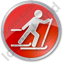 Cross Country Skiing Circle Red Icon