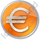 Currency Euro Circle Orange Icon