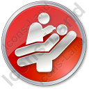 Dentist Treatment Circle Red Icon, PNG/ICO, 128x128