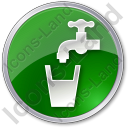 Drinking Water Tap Circle Green Icon, PNG/ICO, 128x128
