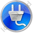 Electricity Power Plug Circle Blue Icon
