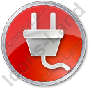 Electricity Power Plug Circle Red Icon