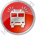 Fire Station Circle Red Icon, PNG/ICO, 128x128