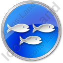 Fish Hatchery Circle Blue Icon, PNG/ICO, 128x128
