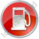 Gas Station Circle Red Icon
