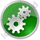 Gears Circle Green Icon, PNG/ICO, 128x128