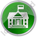 Government Facility Circle Green Icon, PNG/ICO, 128x128