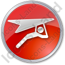 Hang Gliding Circle Red Icon