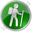 Hiking Circle Green Icon