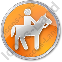 Horse Riding Circle Orange Icon