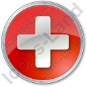 Hospital Cross Circle Red Icon, PNG/ICO, 128x128