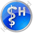 Hospital Rod Of Asclepius Circle Blue Icon, PNG/ICO, 128x128