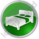 Hotel Bed 3D Circle Green Icon