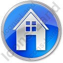 House Circle Blue Icon, PNG/ICO, 128x128