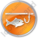 Ice Fishing Circle Orange Icon, PNG/ICO, 128x128
