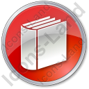 Library Book 3D Circle Red Icon