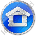 Log Cabin Circle Blue Icon