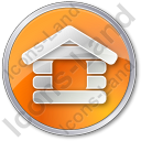 Log Cabin Circle Orange Icon, PNG/ICO, 128x128