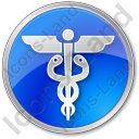 Medicine Caduceus Circle Blue Icon, PNG/ICO, 128x128
