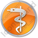 Medicine Rod Of Asclepius Circle Orange Icon