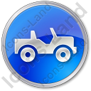 Off Road Vehicle Circle Blue Icon, PNG/ICO, 128x128