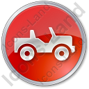 Off Road Vehicle Circle Red Icon