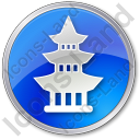Pagoda Circle Blue Icon, PNG/ICO, 128x128