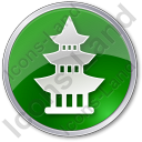 Pagoda Circle Green Icon, PNG/ICO, 128x128