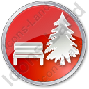 Park Coniferous Tree Circle Red Icon
