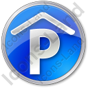 Parking P Covered Circle Blue Icon