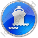 Port Ship Circle Blue Icon, PNG/ICO, 128x128