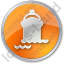 Port Ship Circle Orange Icon, PNG/ICO, 128x128