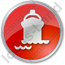 Port Ship Circle Red Icon, PNG/ICO, 128x128