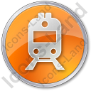 Railway Station Circle Orange Icon, PNG/ICO, 128x128