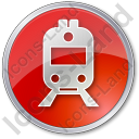 Railway Station Circle Red Icon, PNG/ICO, 128x128
