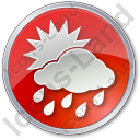 Rain Occasional Circle Red Icon, PNG/ICO, 128x128