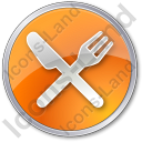 Restaurant Fork Knife Crossed Circle Orange Icon, PNG/ICO, 128x128