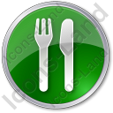 Restaurant Fork Knife Parallel Circle Green Icon, PNG/ICO, 128x128