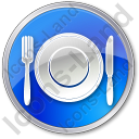 Restaurant Tableware Circle Blue Icon