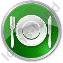 Restaurant Tableware Circle Green Icon