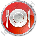 Restaurant Tableware Circle Red Icon, PNG/ICO, 128x128
