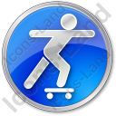 Skateboarding Circle Blue Icon