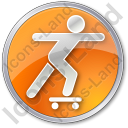 Skateboarding Circle Orange Icon
