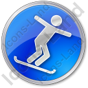 Snowboarding Circle Blue Icon, PNG/ICO, 128x128