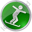Snowboarding Circle Green Icon