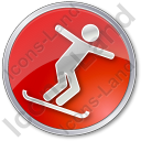 Snowboarding Circle Red Icon, PNG/ICO, 128x128