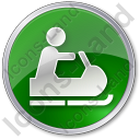 Snowmobiling Circle Green Icon, PNG/ICO, 128x128
