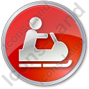 Snowmobiling Circle Red Icon, PNG/ICO, 128x128