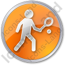 Tennis Player Circle Orange Icon, PNG/ICO, 128x128