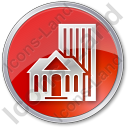 Town Circle Red Icon, PNG/ICO, 128x128